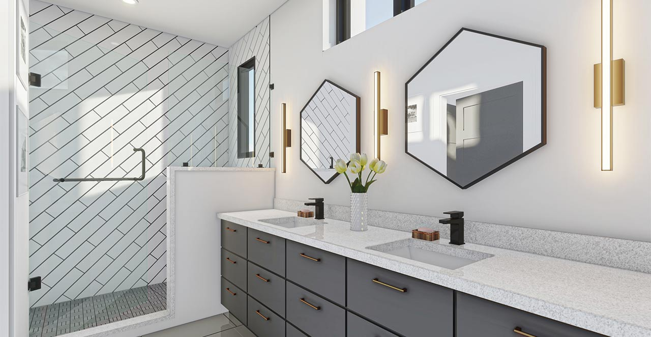 Revolve Residential Alloy bathroom rendering vanity and shower