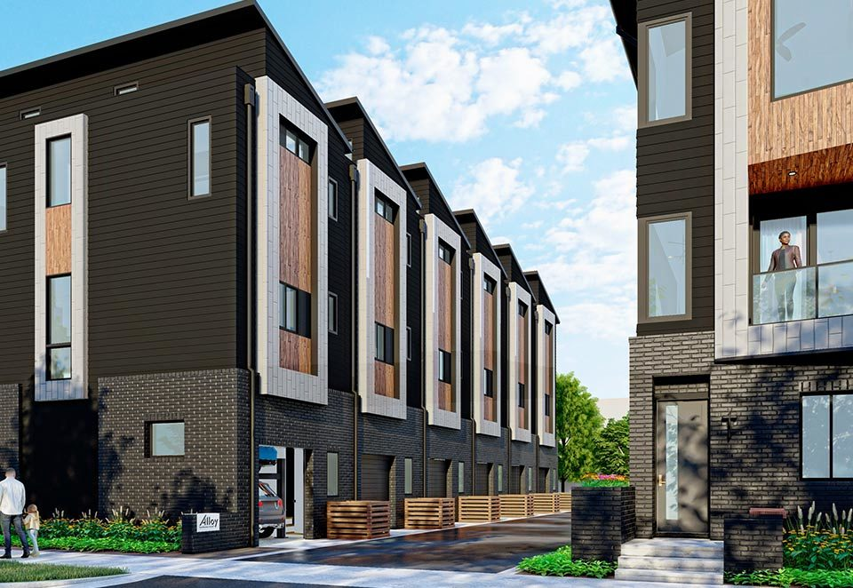 Revolve Residential Alloy townhomes streetscape rendering
